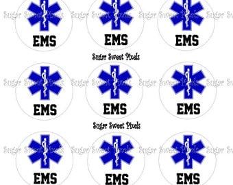 INSTANT DOWNLOAD EMS Emblem 1 inch Circle Bottlecap Images 4x6 sheet