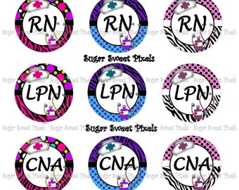 Instant Download Cute Speciality Nurse Sheet 11 RN, LPN, CNA, Ma 1 inch Circle Bottlecap Images 4x6 sheet