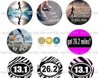 INSTANT DOWNLOAD Marathon Runner  1 inch Circle Bottlecap Images