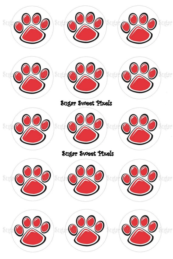 INSTANT DOWNLOAD Red Paw Print 1inch Circle Bottlecap Images 4x6 sheet