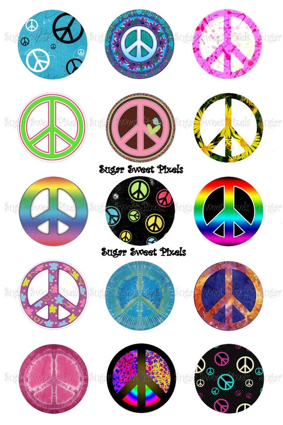 Instant download peace sign inch circle bottlecap images