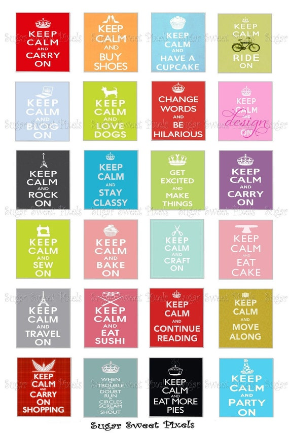 INSTANT DOWNLOAD Keep Calm & Carry On Phrases for Scrabble tiles 4x6 image Sheet