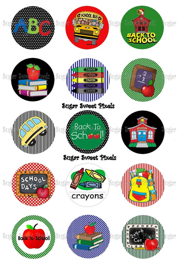 INSTANT DOWNLOAD Back to School  1 inch Circle Bottlecap Images 4x6 sheet