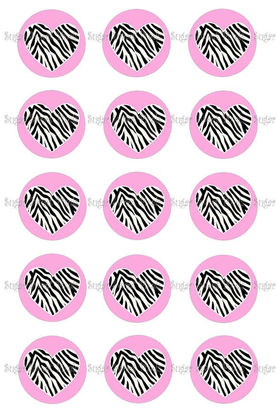 INSTANT DOWNLOAD Pink Zebra Heart  blank 1 inch Circle Bottlecap Images 4x6 sheet