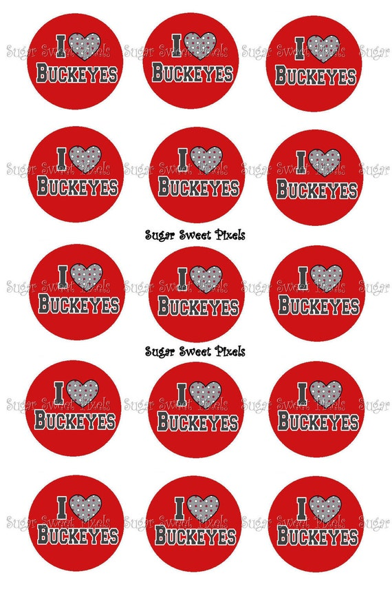 INSTANT DOWNLOAD I love Buckeyes 1 inch circle Botttlecap Images 4x6 sheet