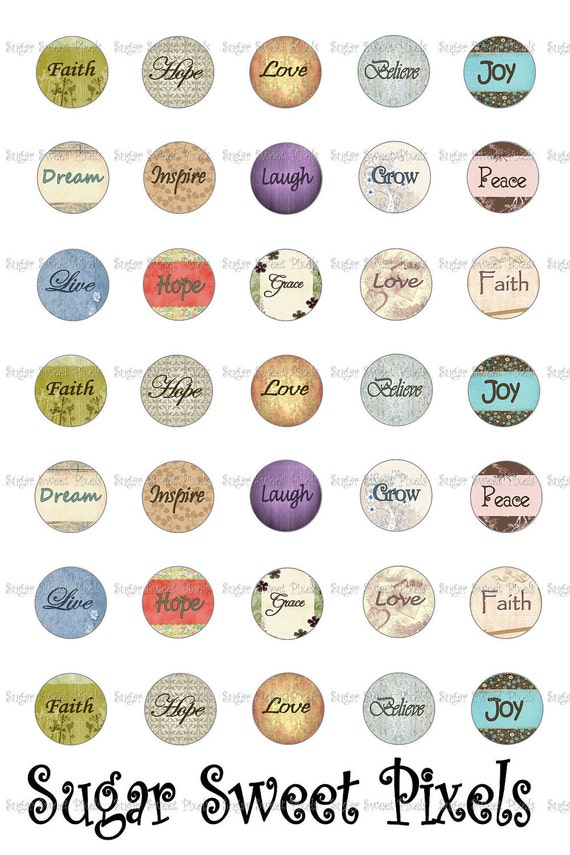 INSTANT DOWNLOAD Inspirational Phrases 0.5 half inch Circle Mini Bottlecap Images 4x6 sheet