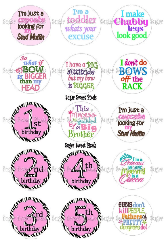 INSTANT DOWNLOAD Sassy Sayings  & Zebra Birthday Images 1inch Circle Bottlecap Images 4x6 sheet