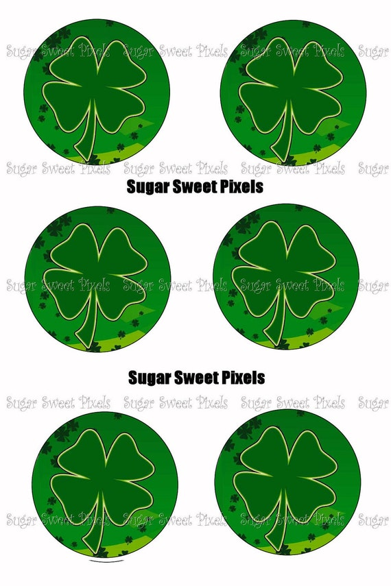 INSTANT DOWNLOAD St Patricks Day Clover 1.5 inch Circle Cupcake Topper  Images 4x6 sheet