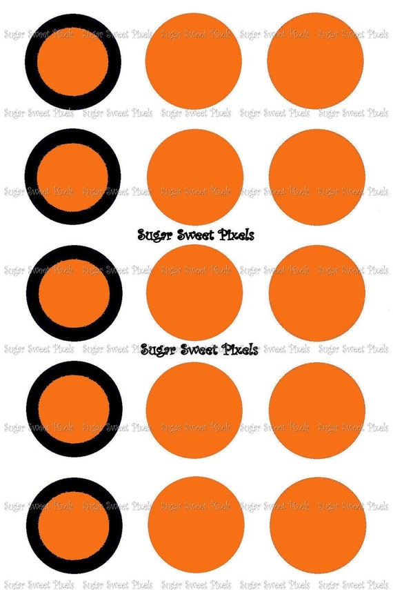 INSTANT DOWNLOAD Orange & Black blank   1inch Circle Bottlecap Images 4x6 sheet
