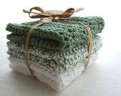 Greens and White Cotton Dishcloths / Washcloths