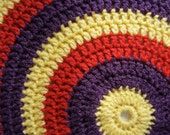 Red, Yellow and Purple Crocheted Pillow Cushion Cover