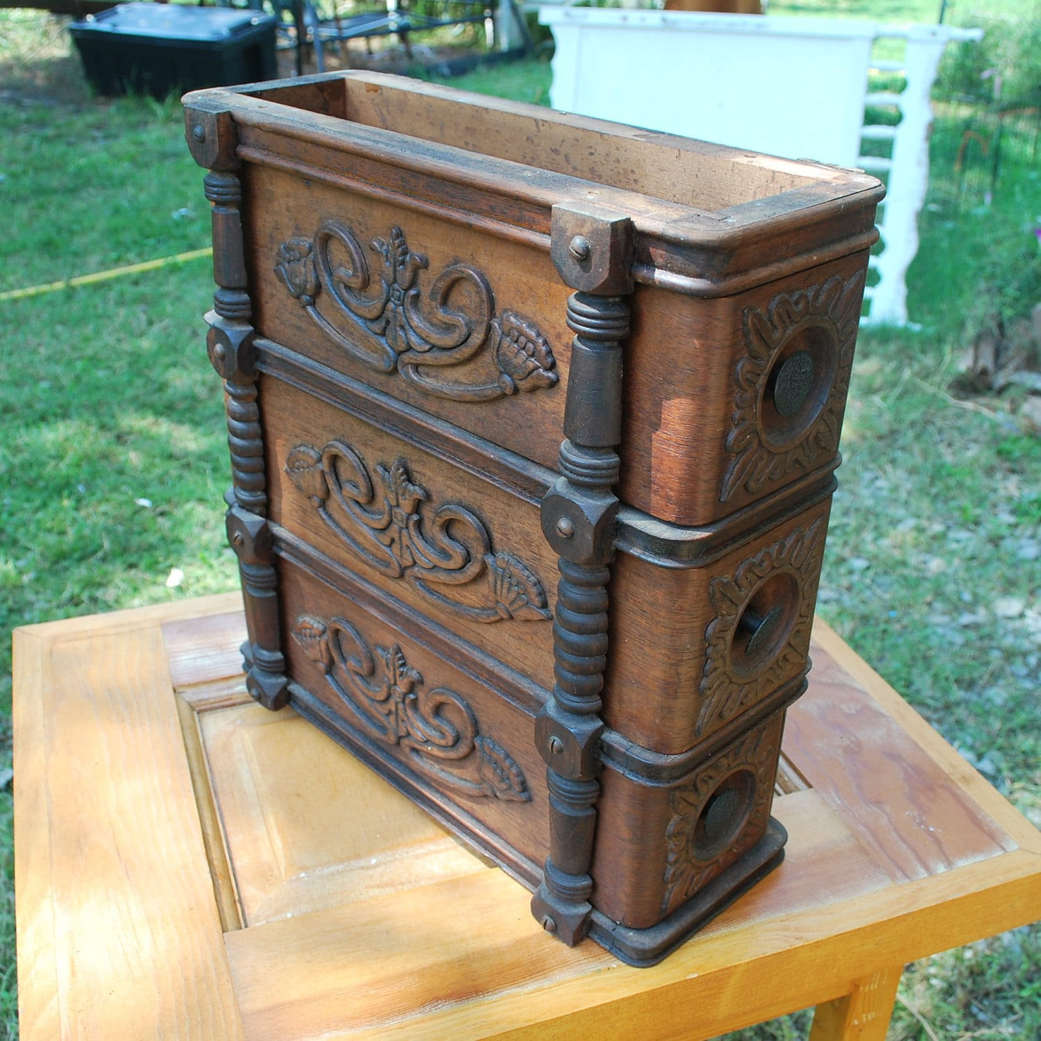 wooden sewing machine cabinet