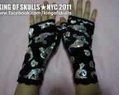 wrist fingerless gloves black hologram ghost arm warmer gothic