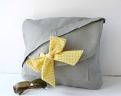 Gray Messenger  Bag  Yellow and White Gingham  Bow Adjustable strap For Women For New Mom