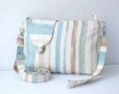 Colorful Striped Midi Messenger  Bag  Wirstlet and  shoulder Adjustable strap Zipper Closure