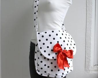 Black Polka Dot Large Messenger Red  Ribbon Bow  Bag Adjustable strap With Red Ribbon