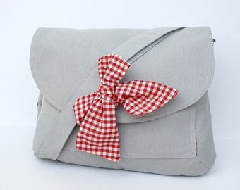 Gray Messenger  Bag  Red and White Gingham  Bow Adjustable strap For Women For New Mom