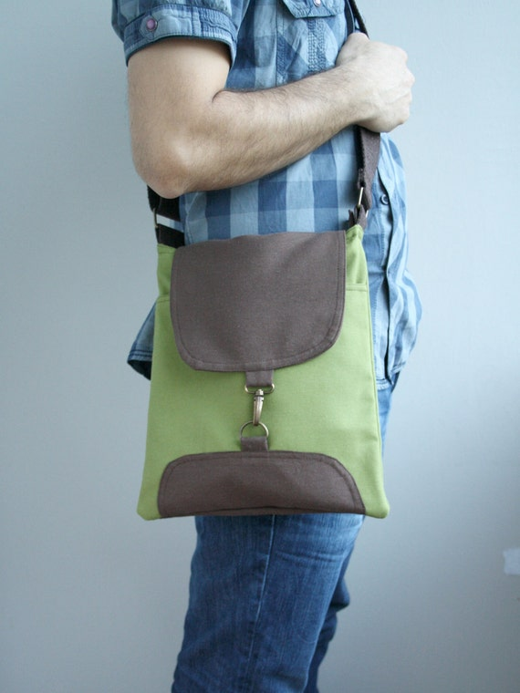 GreeN and Brown Bag Adjustable Cotton strap // For Dady Father / Unisex / messenger for Men For Women / Zipper clousure