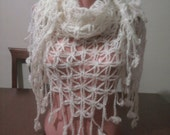Mothers day gift / White Angora Shawl