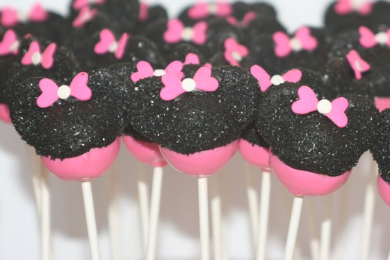 minnie mouse cake pops items similar to pink minnie mouse cake pops on etsy 5943