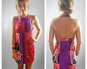 Vintage 1970s Dress / Mini Dress / Halter Dress/ Bright Color / Print