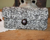 Crochet Coin Purse - Felted Wool 100 % Alpacha Eco Friendly Tweed Gray with Leather Brown Button