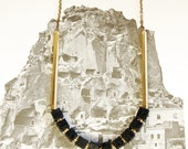 Geometric Lava and Brass Necklace