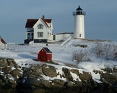 Cape Neddick Lighthouse in snow with wreath 5x7 photo greeting card