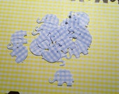 50 Blue Gingham Modern Elephant  Baby Shower Confetti, Invitations,scrapbooking, cards
