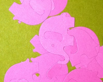 100 Bright Pink MODERN ELEPHANT DECOR  Baby Shower Confetti, Birthday party ,scrapbooking, cards