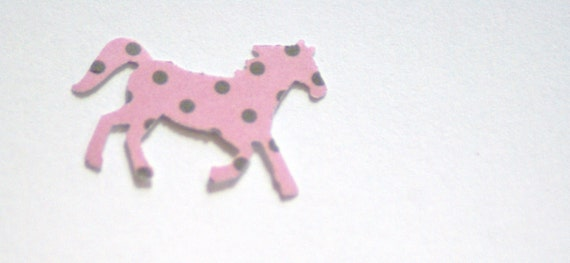 100 Hand Punched  Horse Die cutsPink and brown for Confetti, Birthday party decorations,Invitations,scrapbooking,