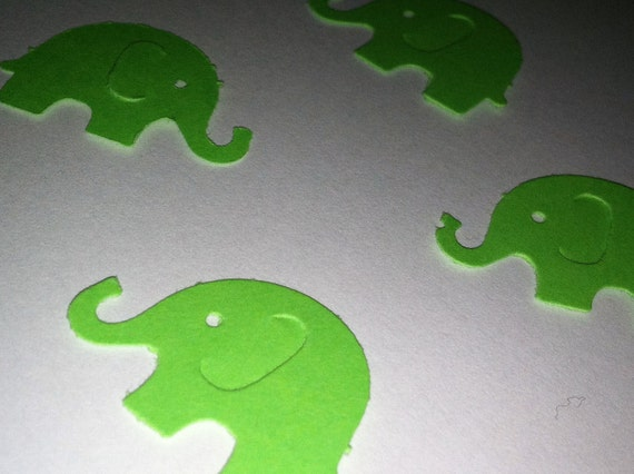 50 Lime Green  MODERN ELEPHANT DECOR  Baby Shower Confetti, Birthday party decorations,Invitations,scrapbooking, cards
