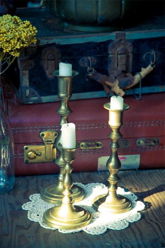 Reserved for JJ - 3 Vintage Brass Candlestick Holders