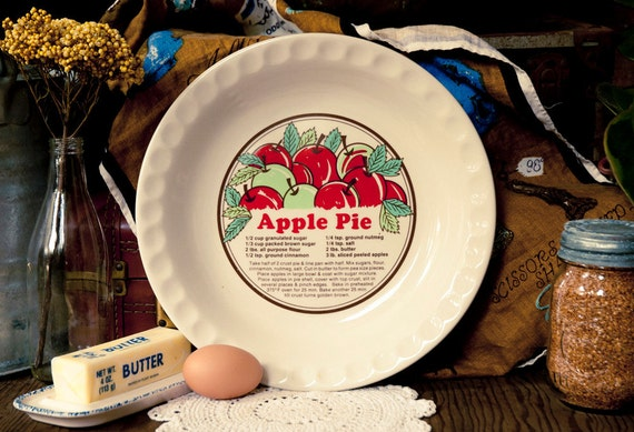Vintage Ceramic Apple Pie Recipe Plate