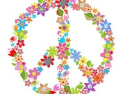 Large Floral Peace Sign Girls Custom 3 with 6 Flowers - BeautifulWalls