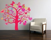 Love Kiss GIFT Tree Butterflies & Hearts Vinyl Wall Art - FAST SHIP zoe