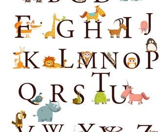 CUSTOM SIZE  Alphabet Animals A-Z Large Set Kids Wall Art, Decals Stickers Nursery