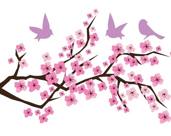 Cherry Blossom Branch Birds Vinyl Wall Art - FAST SHIP