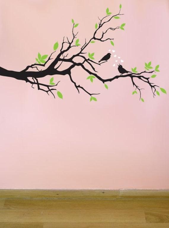 Tree Branch Wall Art items similar to tree branch birds hearts vinyl wall art - fast