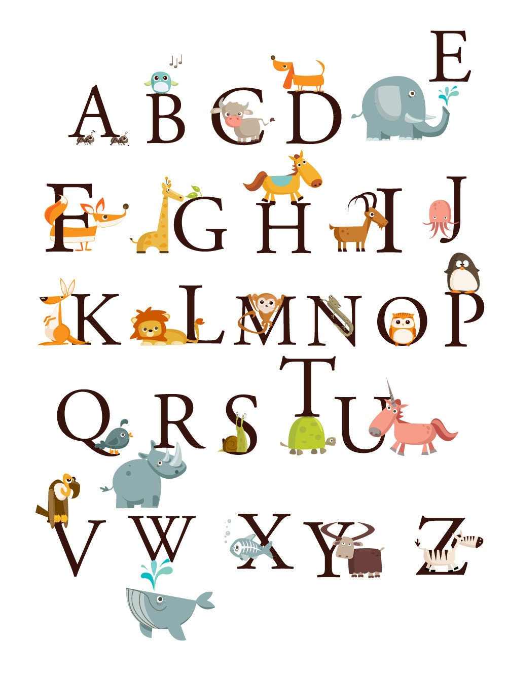 Alphabet Animals A Z Large Set Kids Wall Art Decals Stickers