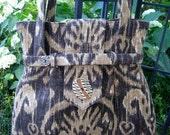 Ikat Brown Latte and Caramel Linen Shoulder Bag