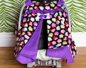 Car seat Canopy / Car seat Cover / Car seat Tent - Zippered - Purple Owl