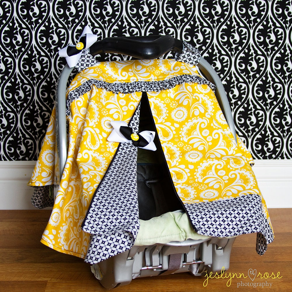 car seat canopy yellow paisley with black and by sassymctaffy. Black Bedroom Furniture Sets. Home Design Ideas