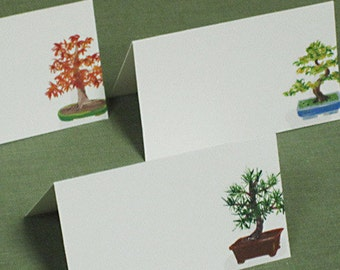 Place Cards, Asian Motif Japanese Bonsai, Set of 12