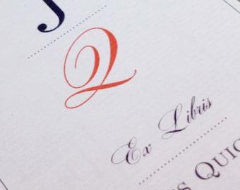 CUSTOM BOOKPLATE  Monogram Motif Design - set of 24