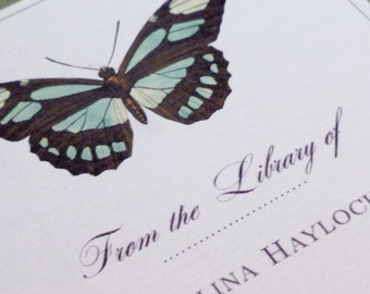 CUSTOM BOOKPLATES with antique Butterfly Motif - set of 24