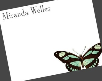 Personalized Flat Notes Botanical   Butterfly Stationery Note Set of 15