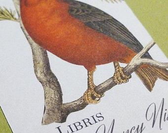 Custom Bookplates with Vintage Bird Motif - Set of 24