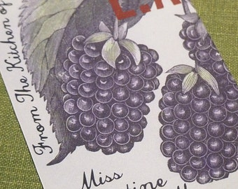 Canning label style Kitchen Bookplate Vintage Blackberry Motif, 24 Set