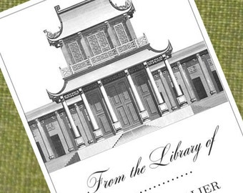 Custom Bookplate with Chinoiserie Pagoda - Set of 24